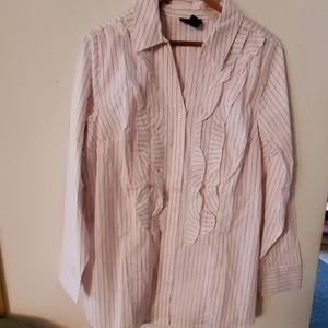 Lane Bryant White/Pink Button Down Shirt 16